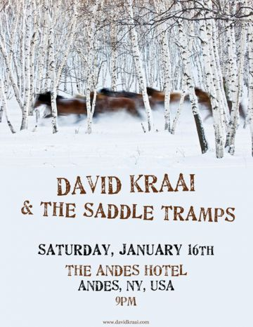 1.16, 9PM, LIVE MUSIC - DAVID KRAAI & THE SADDLE TRAMPS