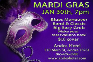 1.30, MARDI GRAS WITH BLUES MANEUVER BAND – 7PM