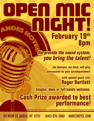 2.19-OPEN MIC NIGHT - 8pm @ THE ANDES HOTEL