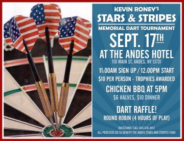 Kevin Roney Stars & Stripes Memorial Dart Tournament at the Andes Hotel
